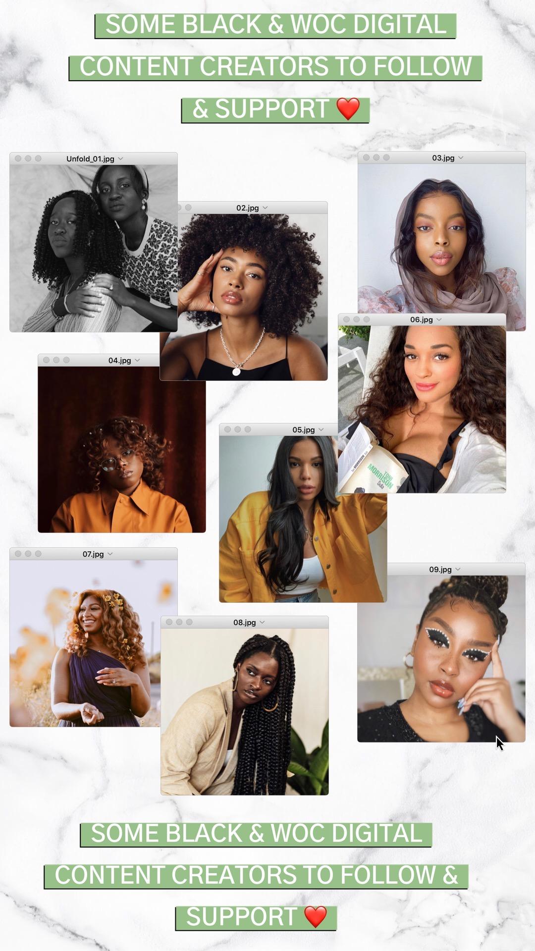 90 BLACK & WOC DIGITAL CONTENT CREATORS TO FOLLOW & SUPPORT ! #BlackLivesMatter